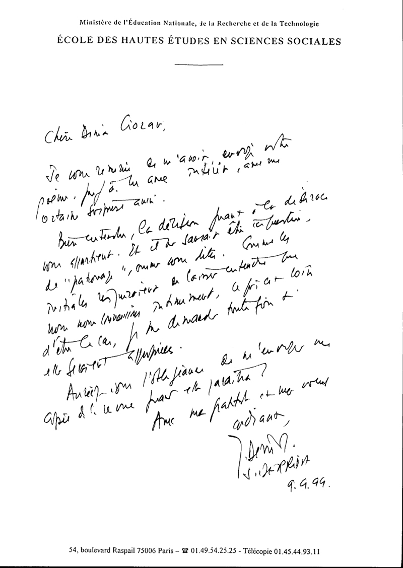 Letter from Derrida